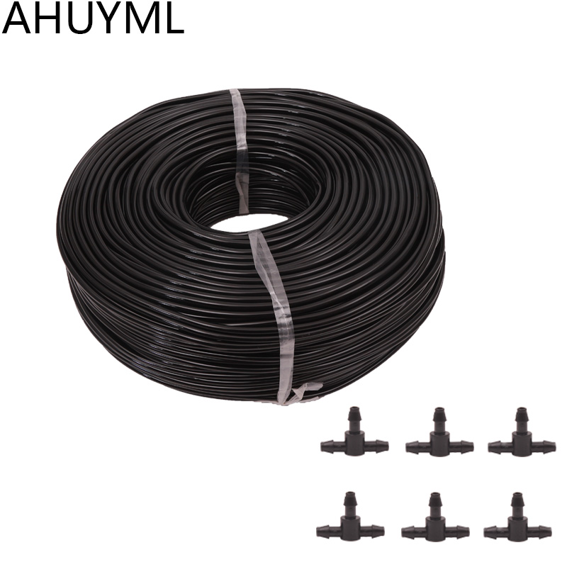 30M 4/7 Hose +25 Pcs Tee Connector Garden Irrigation System Accessories Wear Black 1/4 Hose Watering Pipe Garden Lawn Sprinkler