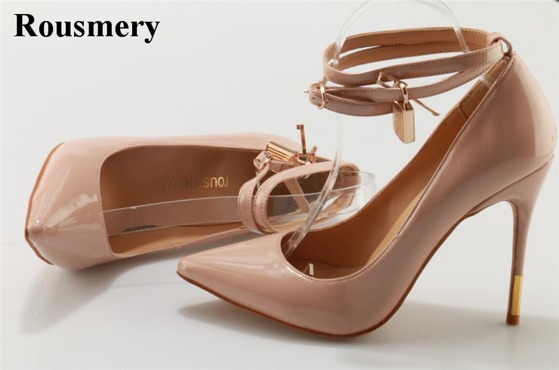 New Fashion Women Pointed Toe Nude Patent Leather Ankle Strap Pumps Gold Lock Design 12cm High Heels Formal Dress Shoes fashionable women s pumps with pointed toe and t strap design
