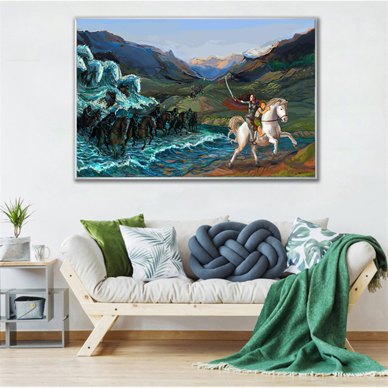 Wall Art Road of The Rings Abstract Painting Movie Poster Girl Horse Escape Wall Pictures for the Living Room Home Decor