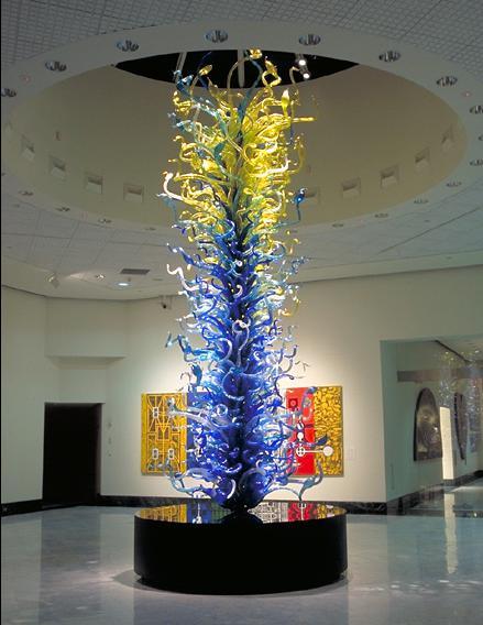 Conception de luxe hôtel hall Restaurant debout verre Sculpture Style soufflé à la main en verre Borosilicate Art Sculpture