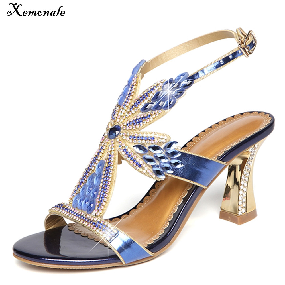 Xemonale Hot sale 2018 Womens Genuine leather shose Sparkling diamond High heels sexy Pe ...