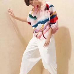 LANMREM 2020 nueva moda de verano para mujer, ropa plisada fina con mangas de murciélago y cuello redondo, Top estampado de tintas WF77700 Suelto