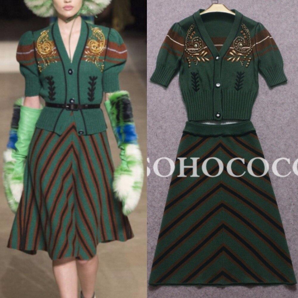 Европейский Стиль элегантный Офисные женские туфли Костюмы Высокое качество аппликации вышивка полосатый кардиган шерстяной свитер юбка