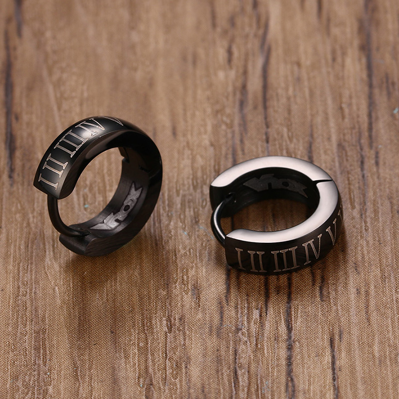Black Men's Hoop Shaped Stainless Steel Earrings