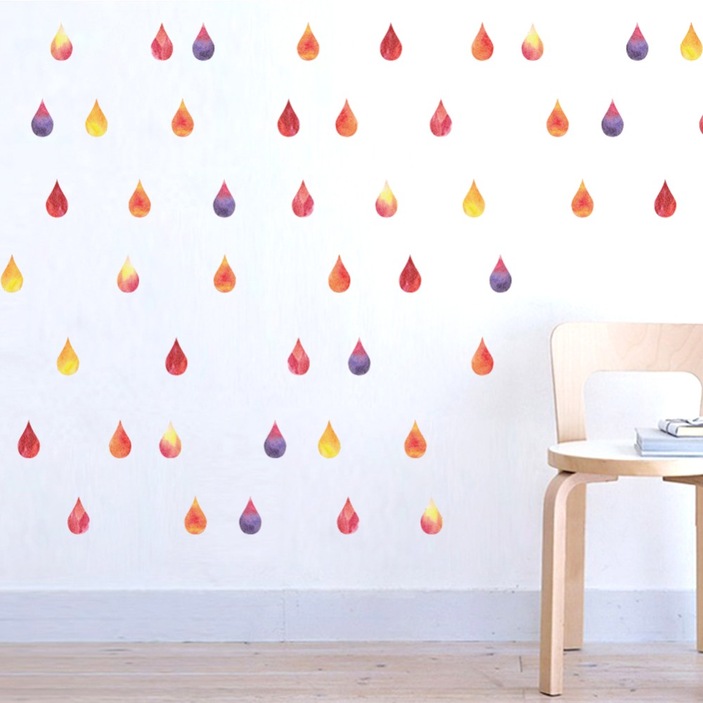 Colorful Raindrop Confetti DIY Kids Baby Nursery Child Teen Home Rain Art  Living Room Bedroom DIY Wall Sticker Decor Decal