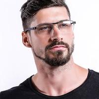 Cubojue Mens Glasses Frame Half Eyeglasses Man Metal Spectacles Clear Lens for Prescription Points Fashion Men Eyewear
