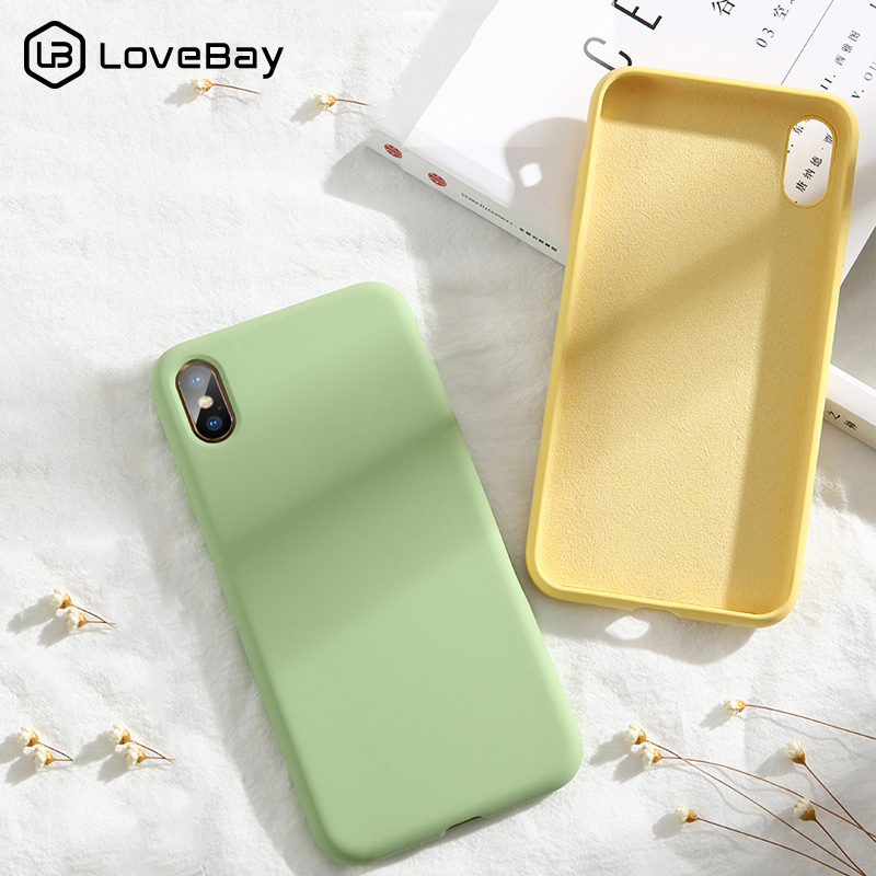 Lovebay High Quality Liquid Silicone Cases For iphone 7 6 6S 8 Plus XS Max XR X Fashion Shockproof Colorful Phone Case Cover-in Fitted Cases from Cellphones & Telecommunications