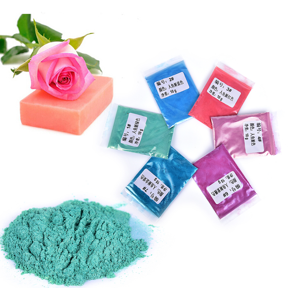6 Colors 10g Healthy Natural Mineral Mica Powder DIY For Soap Dye Soap Colorant Makeup Eyeshadow Soap Powder Skin Care