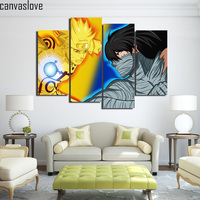 4 Piece Canvas Art HD Print Naruto Vs Ichigo Crossover Painting Wall Pictures For Living Room