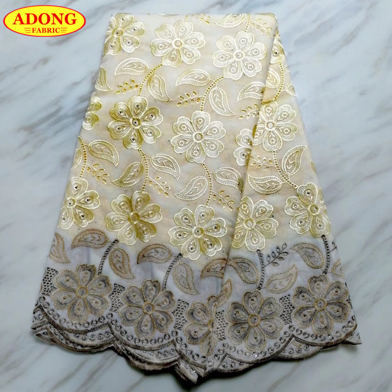 Latest Design 100% Cotton Swiss Voile Lace Fabric Guipure Lace 5 Yards/Piece African Dry Lace With Stones High QualityLatest Design 100% Cotton Swiss Voile Lace Fabric Guipure Lace 5 Yards/Piece African Dry Lace With Stones High Quality