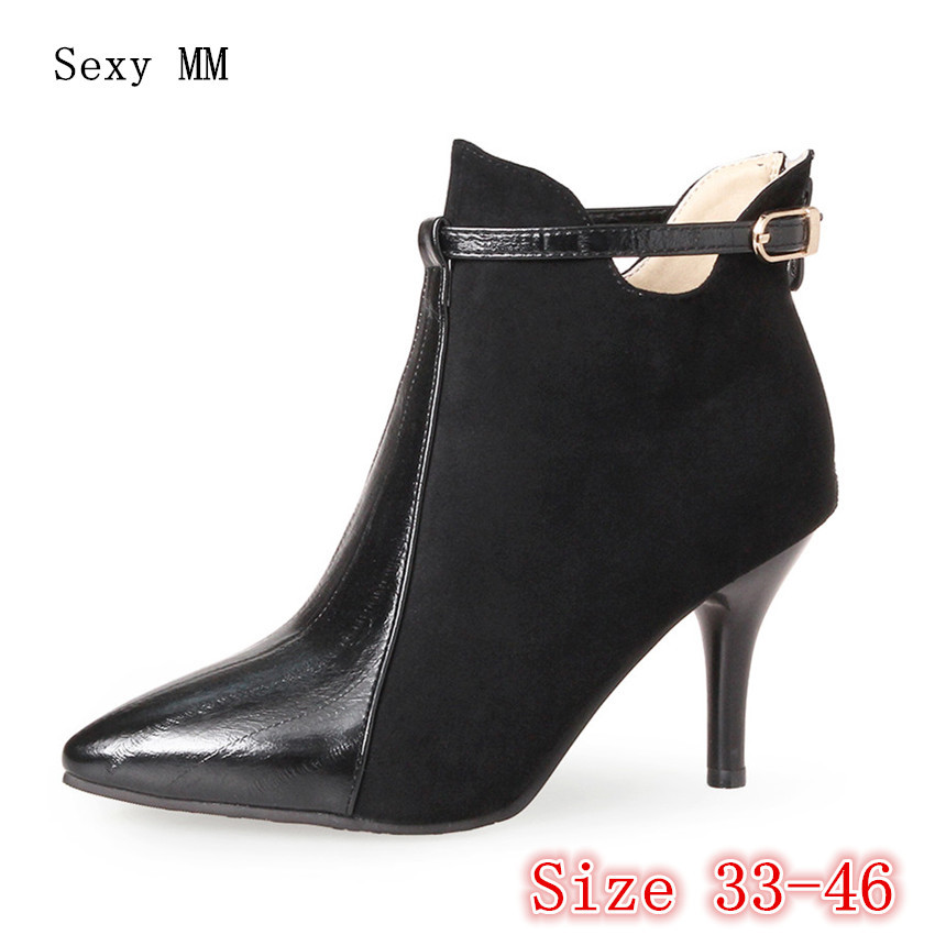 Spring Autumn Winter Women Ankle Boots High Heels Woman Short Boots botas High Quality Plus Size 33 - 40 41 42 43 44 45 46 spring autumn winter platform high heels ankle boots women short boots ladies shoes botas botte femme plus size 34 40 41 42 43
