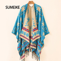 [SUMEIKE] 2016 Warm Blanket Scarf Women Ponchos And Capes Neckerchief Embroidery Long Flower Thick Wrap