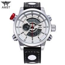 AMST Dos Homens Novos relógios de Pulso de Moda de Luxo PU LEATHER Strap Watch Militar Esportes Relógios Digitais de Quartzo Relogio masculino 2017