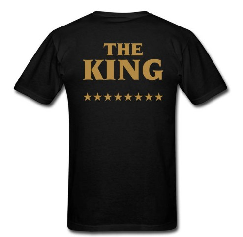 The King His Queen Star T Shirt Couples Matching Funny T-Shirts Gold Print Tee Summer Style For Men Women Lovers Cotton Tshirt