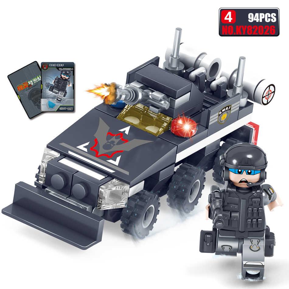 363 sztuk policji SWAT wojskowe serii 3D Model Building Blocks DIY ciężarówka opancerzone karty chłopak z miasta zabawki prezent