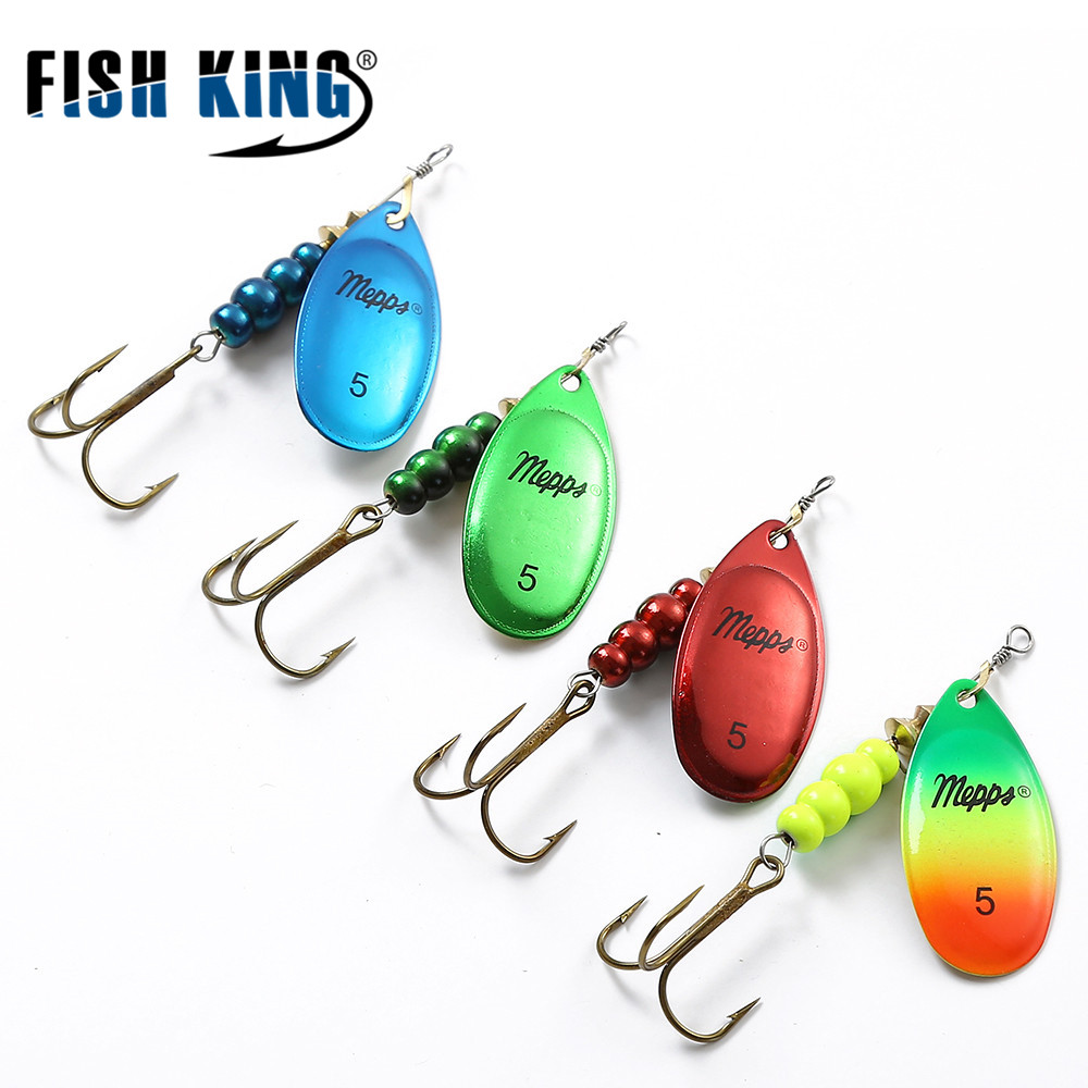 FISH KING MEPPS 4 Color 0#-5# Lure Artificial Bait With Mustad Treble Hooks 35647-BR Fishing Lure fish king 1pc 8pc bags mepps spoon 8 colors weight 20g 30g hook 2 3 artificial bait 10 5cm 12 0cm fishing lure for fish