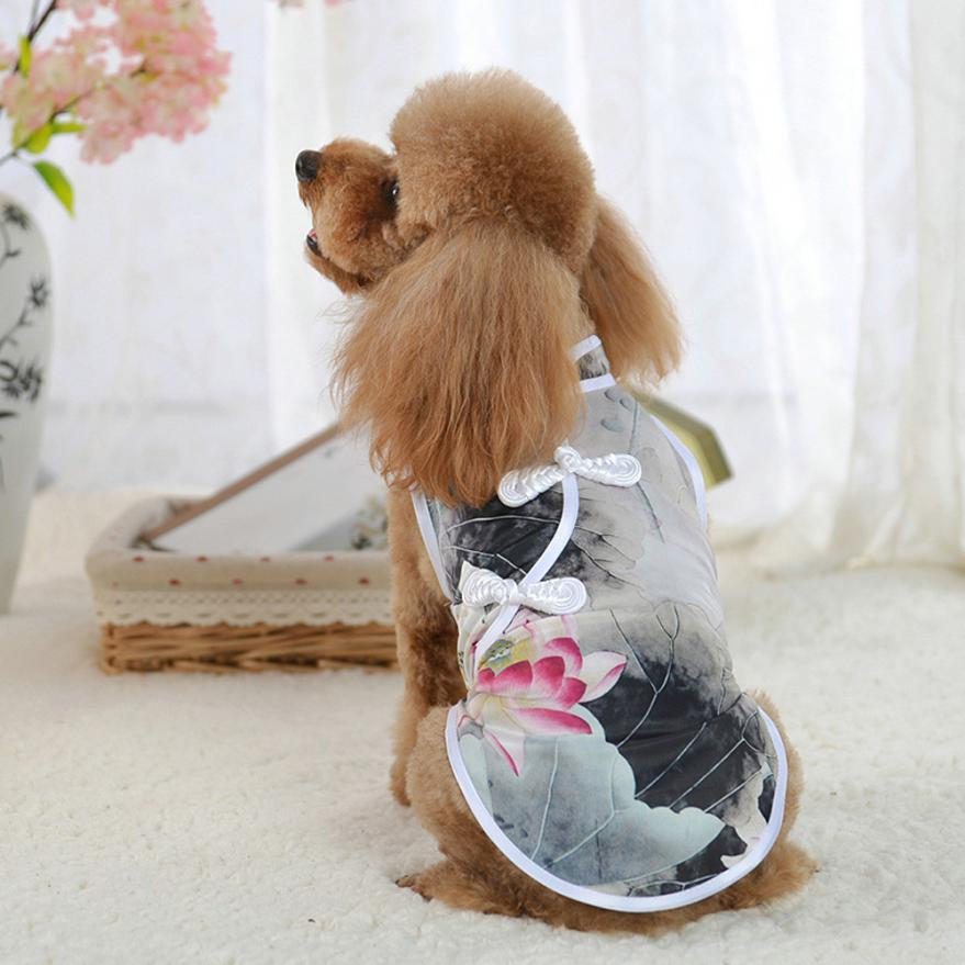 Transer Dog Clothes Pet Vest Cute Tang Suit Chinese Cheongsam Costume Clothes For Dogs Pet Puppy Cats 4.20