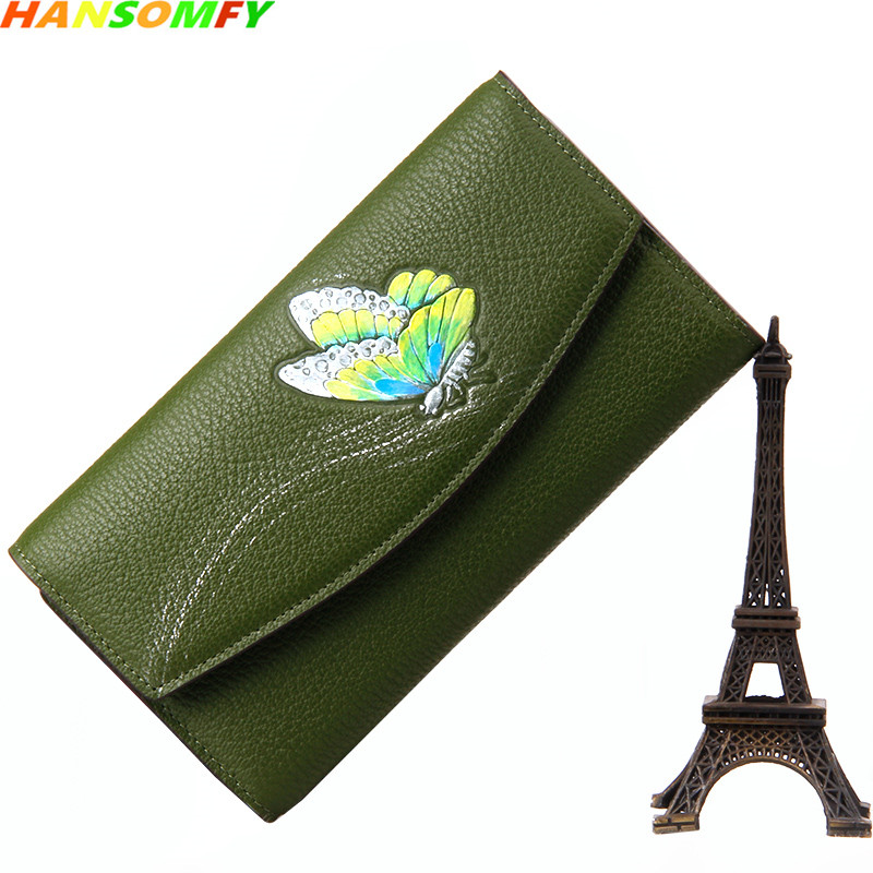 2018 new butterfly women wallets cow Genuine Leather female purse tide hand holding party original handmade long wallets