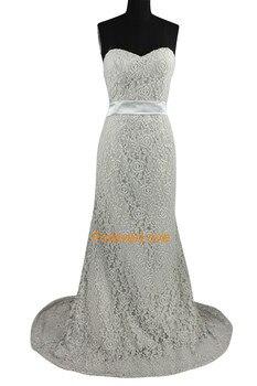 Beautiful Sweetheart Lace Gray Sheath Long Prom Dress Party Formal Bridesmaid Dress Evening Dress