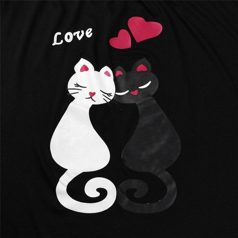 150e85605b6 Chamsgend Shirts Black White Cat Cartoon Print Off Shoulder Long ...