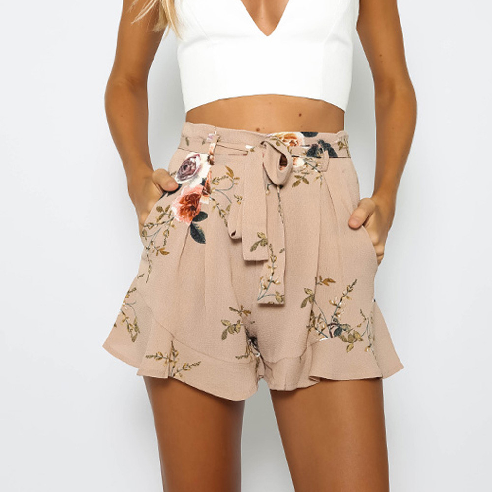 Fashion Women   Shorts   Sexy Skirt Summer Print Flower   Short   Pants Loose   Shorts   For Woman Pantalones cortos mujer#F