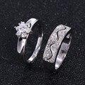 Zhe fan moda casal anéis set para as mulheres aaa cubic zircon flor festa de casamento marca de jóias anel de dedo de noivado