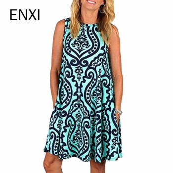 ENXI Summer Floral Maternity Dresses Sleeveless Pregnancy Dress For Pregnant Women Daily Wearing Maternity Clothes  Платье