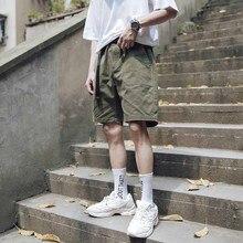 Outdoor 2019 Summer cargo elastic waist teenagers multi pocket loose climbing hiking trekking overalls short trousers men