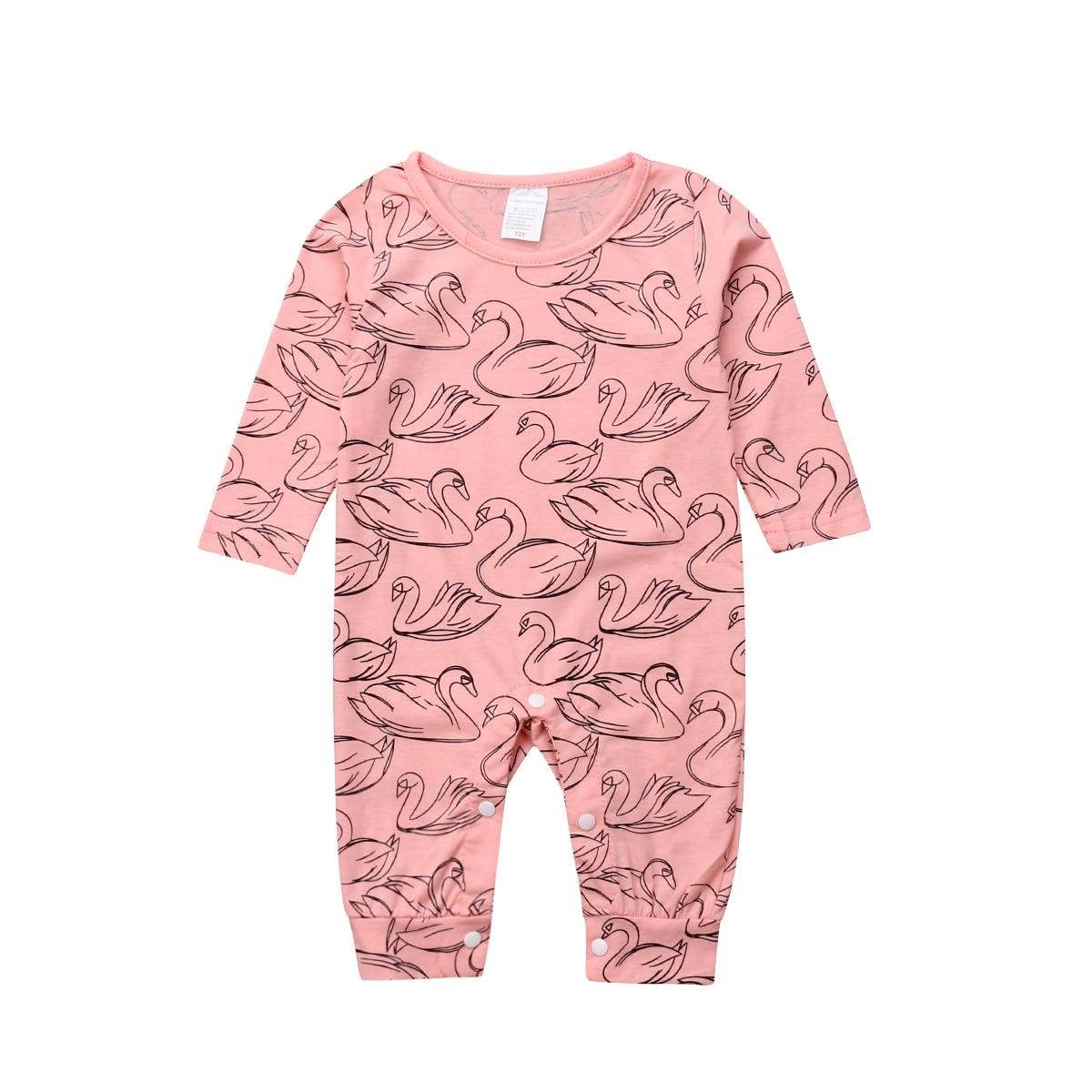 Newborn Kids Baby Girls Cartoon Swan   Romper   Cotton Long Sleeve Jumpsuit Clothes