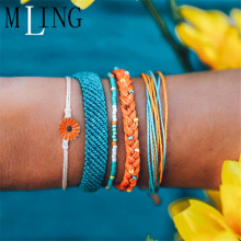 MLING 5 Pcs/Set Bohemian Flower Bracelet For Women Charm Weave Rope Chain Fashion Jewelry Gifts