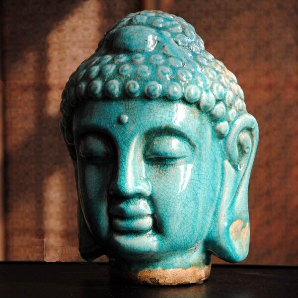 Style sud est asiatique, tête de bouddha en céramique, artisanat de bouddha, statue bouddhiste, décoration bouddhiste, cadeaux, figurine ~-in Statues et sculptures from Maison & Animalerie    1