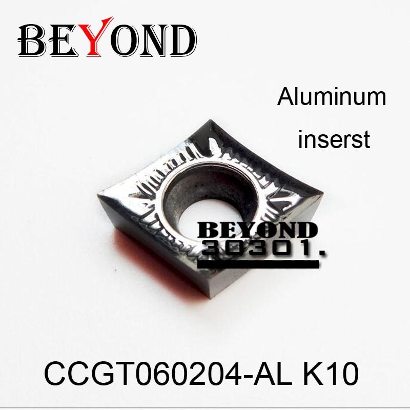 BEYOND 10pcs CCGT060204-AL K10 CCGT 060204 آلومینیوم و مس کاربید درج ابزار تراش ابزار CNC تراشکاری CNC