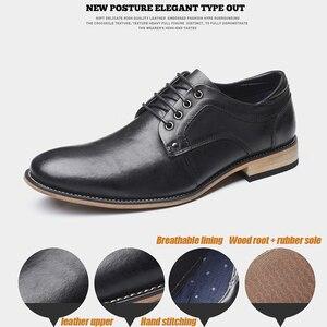 Image 5 - YIGER chaussures habillées pour hommes, nouvelle collection, chaussures formelles, à lacets, grande taille, en cuir véritable, augmentation, chaussures pour hommes, 0301