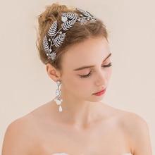 Серебряные листья свадебный аксессуары для волос горный хрусталь тиару безалкогольные свадьбы волос группа головной убор Повязки невесты Цветок аксессуары для волос