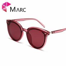 MARC 2019 Women Eye wear Trend Sunglasses Oval Transparent Frame High Quality UV400 Cat eye Brand Red Brown 1