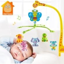 4 в 1 музыкальная кроватка Мобильная кровать колокольчик Kawaii животное детская погремушка вращающийся кронштейн игрушки жираф держатель заводная Подарочная музыкальная шкатулка