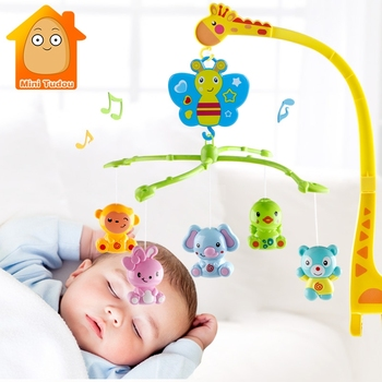 4 in 1Musical Crib Mobile Bed Bell Kawaii Animal Baby Rattle Rotating Bracket Toys Giraffe Holder Wind-up Music Box Gift