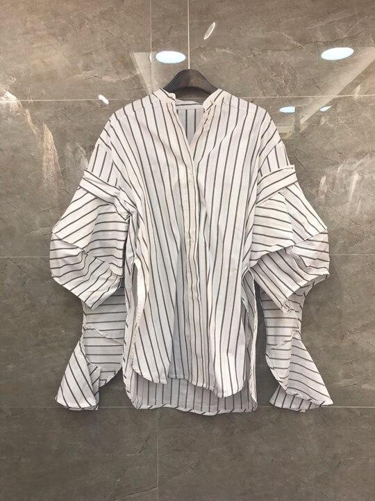 Irrégulière Début De Lanterne Finition Long Couture En Printemps Rayures Longues Manches Du 20181219 Au Rapport Blanc Couche OYwqdgSq