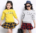 2015 autumn girls clothing set cotton sweatshirt+plaid skirt school uniform conjunto menina kids clothes conjunto infantil