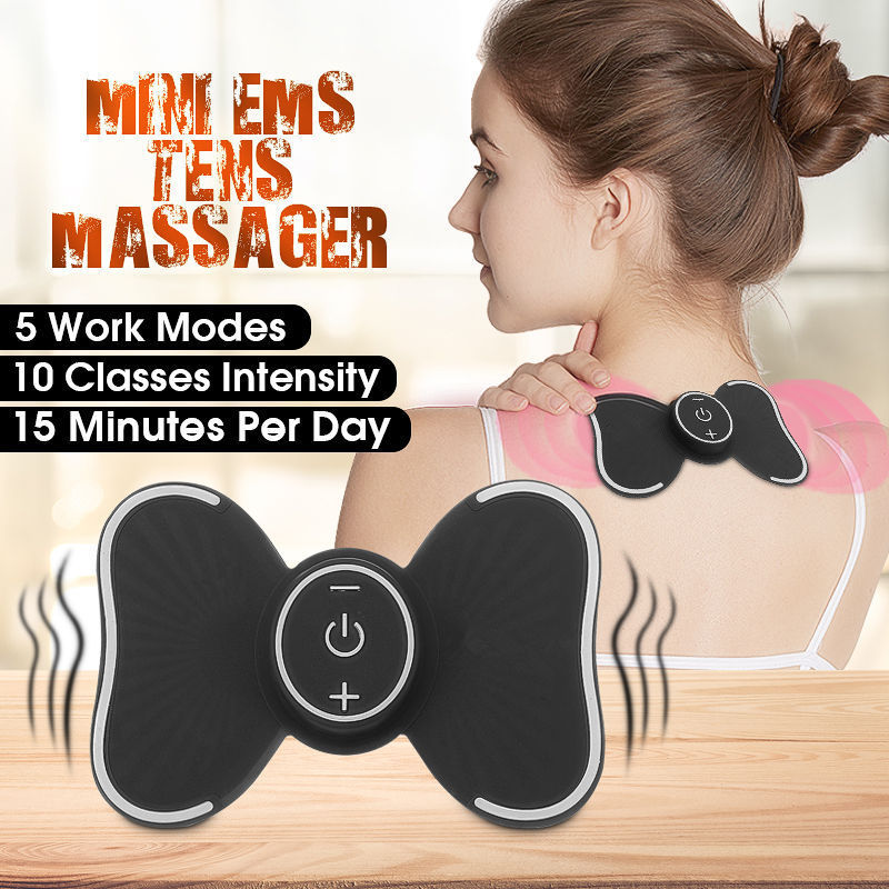 Mini TENS EMS Massager Butterfly Design Body Muscle Massager Electronic Slimming Massager