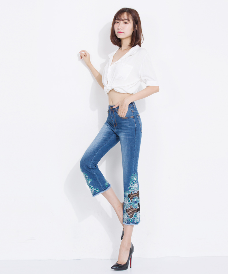 KSTUN Fashion Women's Jeans Summer Thin Hollow Out Flared Pants Slim Fit Skinny Embroidered Floral