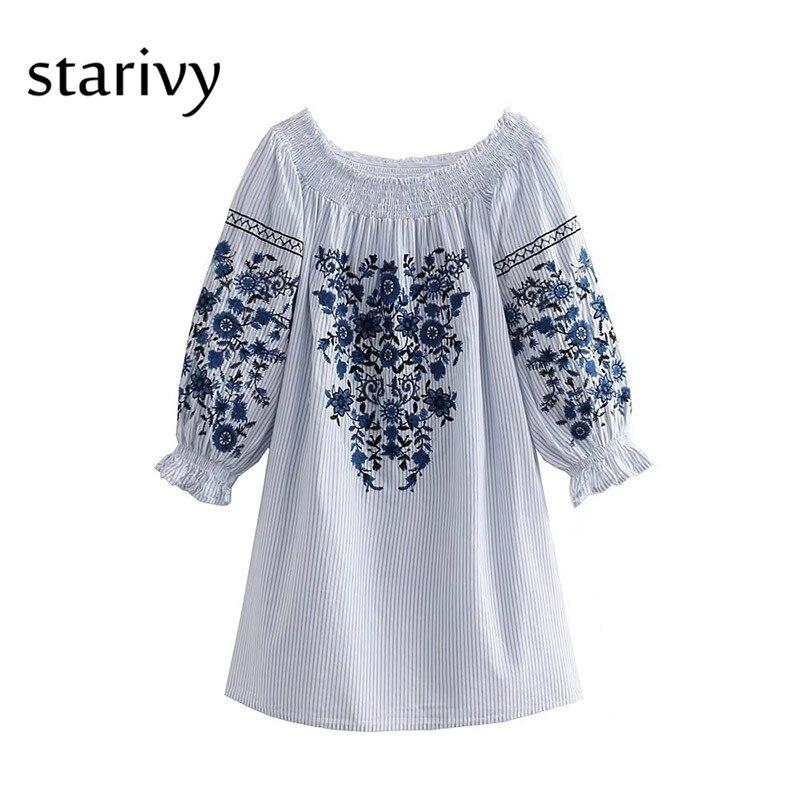 Sexy Women Dress Summer Elegant Dresses Casual Cotton Long Sleeve Off Shoulder Dress 2018 Vintage Embroidery White Dress D269