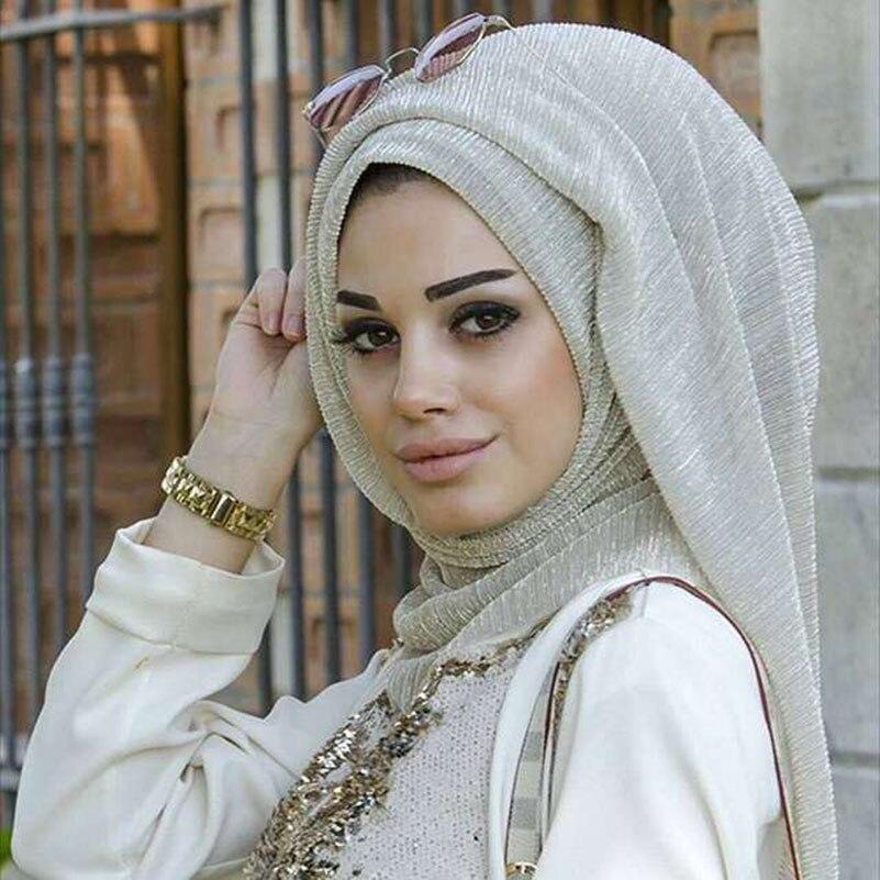 75x180cm Fashion Headscarf Islamic turban Muslim Women Gold Wrinkles Shawl Hijabs   Scarves   Arabian Dubai Solid Color Scarfs   Wrap
