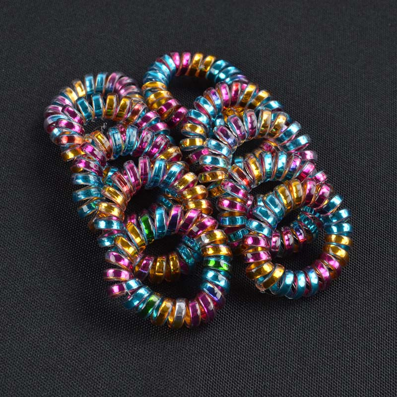 10Pcslot Colorful Telephone Wire Headband On Head Cord Line Gum Hair Holder Elastic Hair Band Tie Child Dressing Hair Accessory