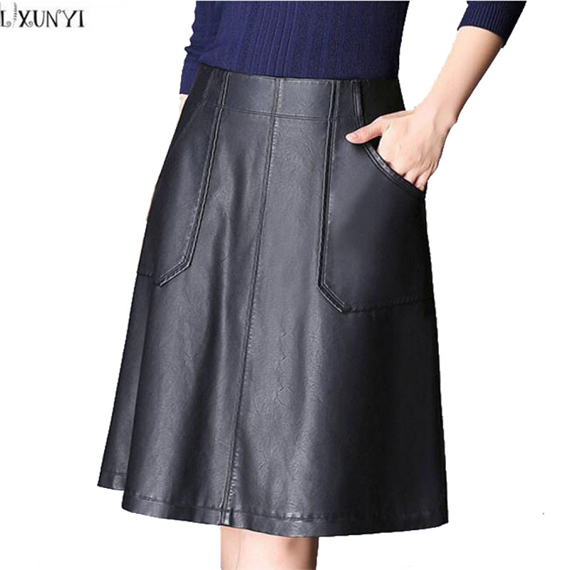 LXUNYI Autumn Winter Leather Skirt Women Plus Size Thin Faux Leather Skirt Black PU Pocket A Line High Waist Skirts Womens 2018
