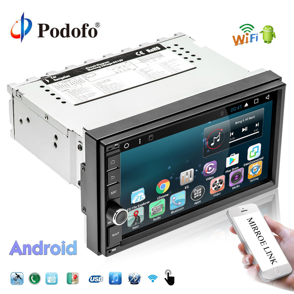 Podofo 7 Android автомобильный мультимедийный плеер 1din gps навигации WI-FI Сенсорный экран автомобиля радио DAB + БД Bluetooth Зеркало Ссылка авторадио