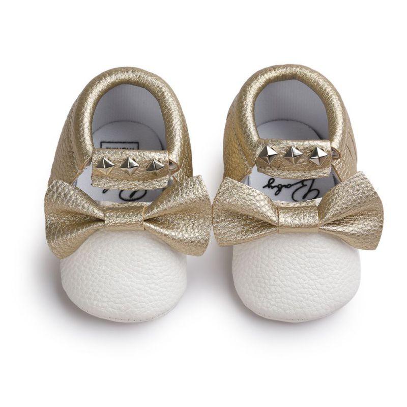 בייבי בוי הנערה מוקסינים רך Moccs נעליים Bebe פרינג רך Soled Non- להחליק הנעלה ערש נעליים חדש PU rivet עור יילודים