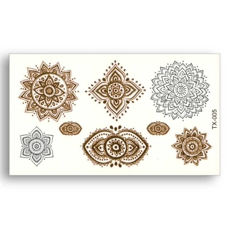 Mandalas Fake tattoo Metallic Gold Sliver Waterproof Temporary Stickers Water Transfer Sexy Glitter Body Art Beauty Jewelry