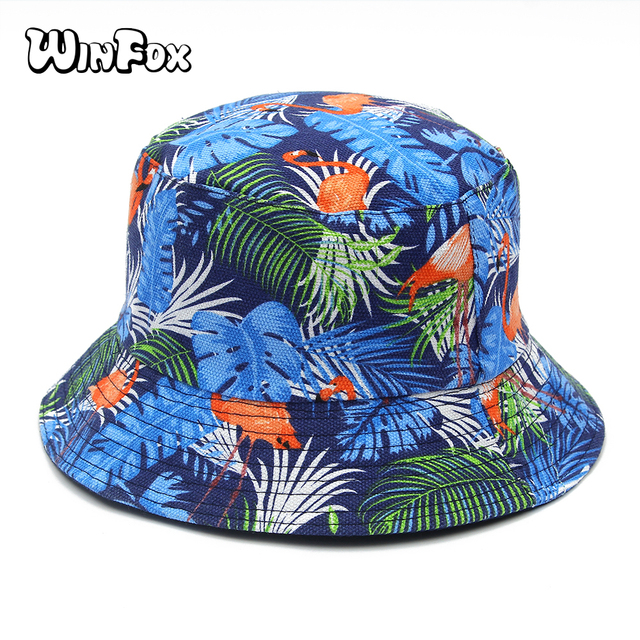 bc1c5158fb1 Winfox New Fashion Summer Blue Pink Flamingo Banana Leaf Tropical Printed  Bucket Hats For Womens Mens