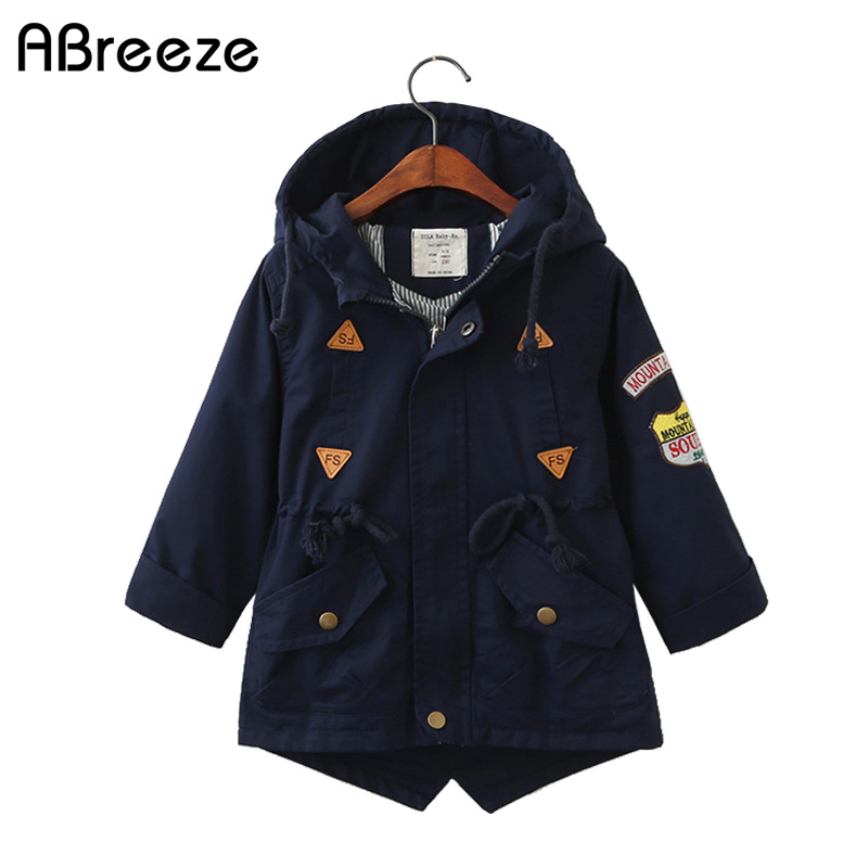 2019 Spring  Autumn children outerwear & coats England style boys girls Trench cotton 3Y 10Y Big kid hooded Windbreaker